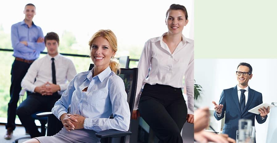 zwei Fotos von Business Menschen im Gespräch