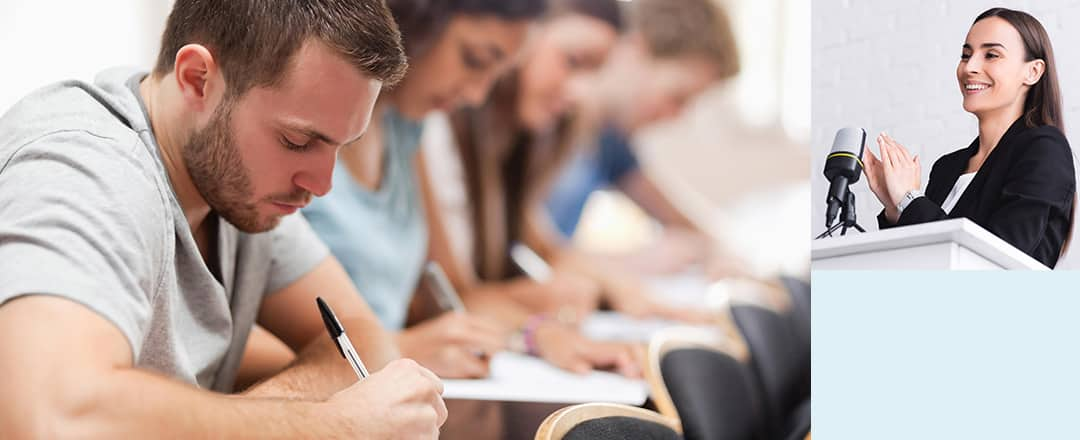 Bildmontage von lernenden Erwachsenen